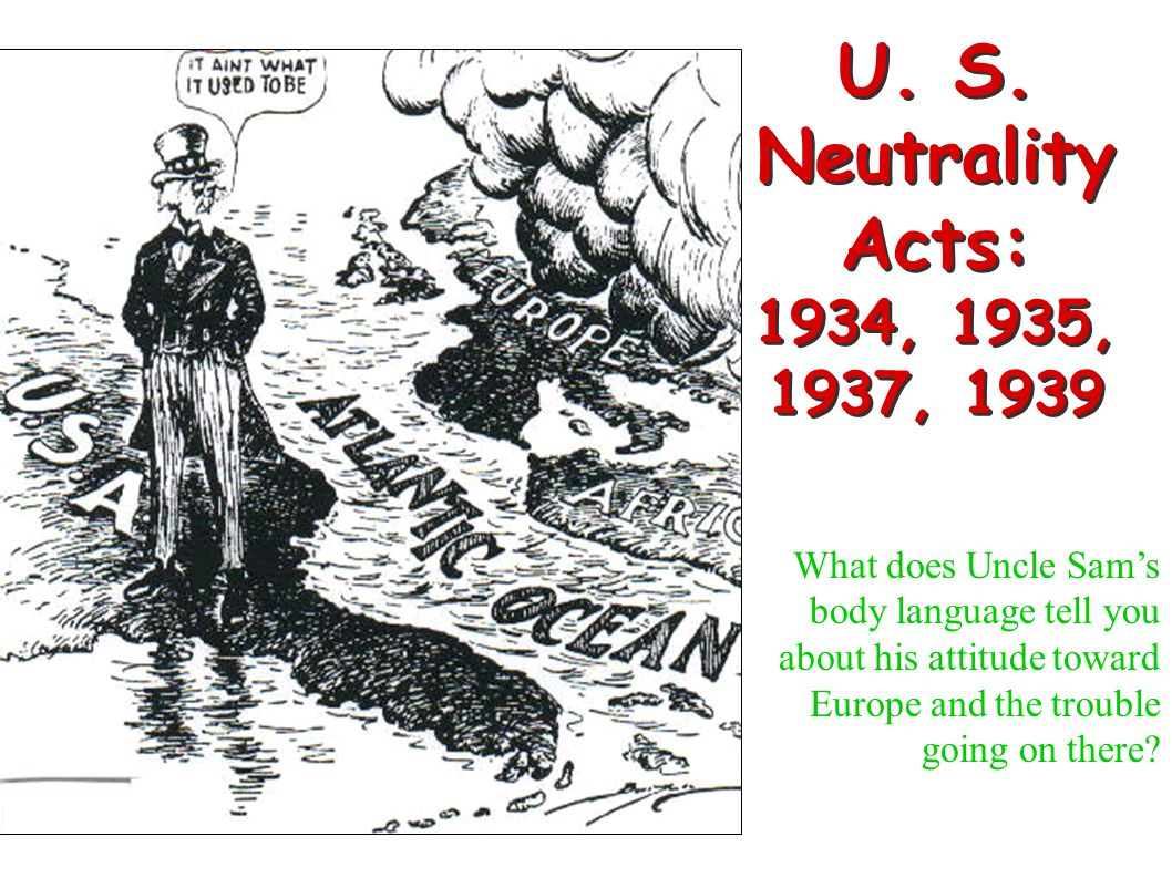 U. S. Neutrality Acts: 1934, 1935, 1937, 1939