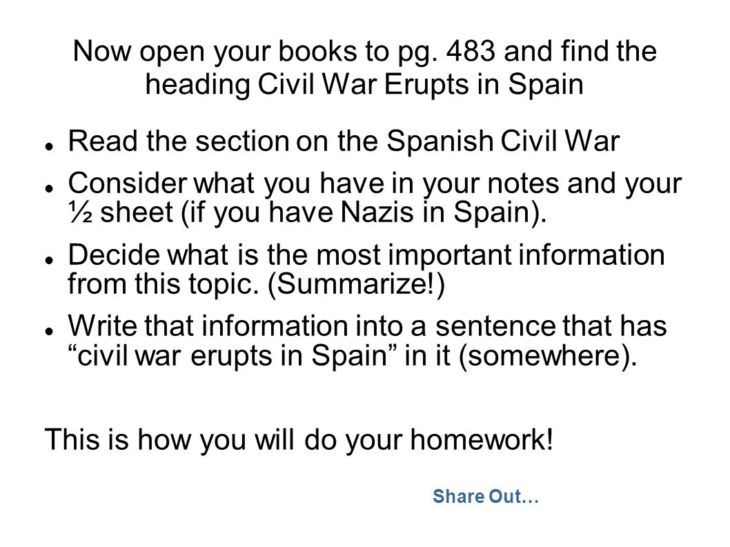 Read the section on the Spanish Civil War