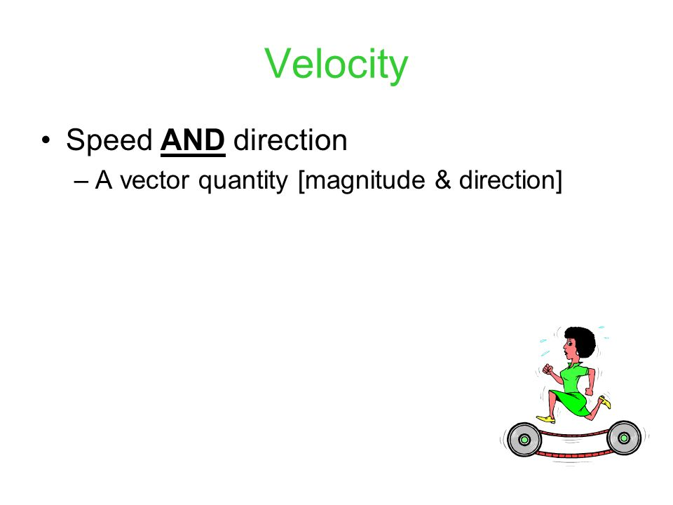 Velocity Speed AND direction A vector quantity [magnitude & direction]