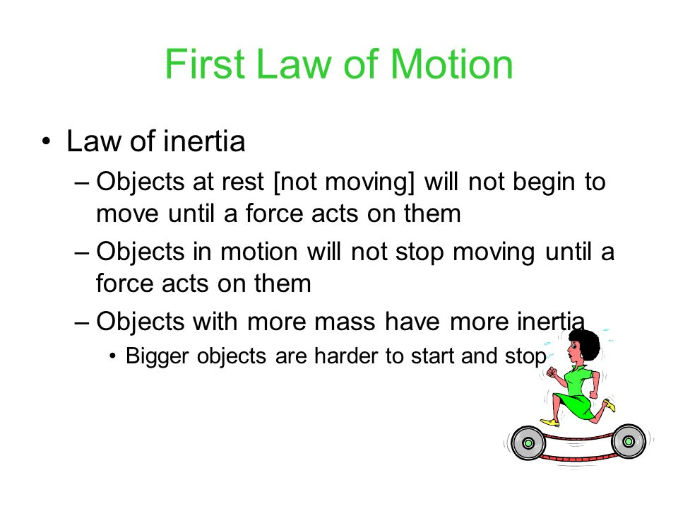 First Law of Motion Law of inertia