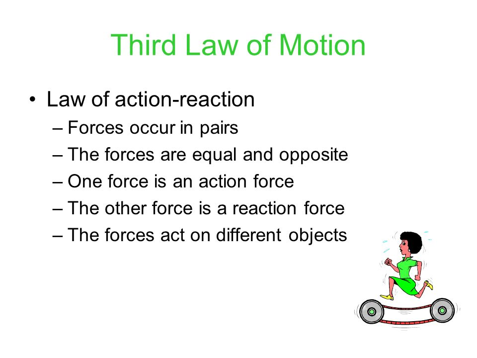 Third Law of Motion Law of action-reaction Forces occur in pairs