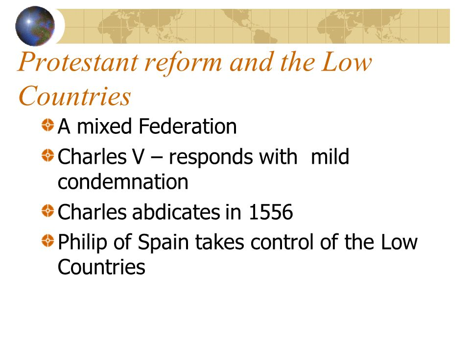 Protestant reform and the Low Countries