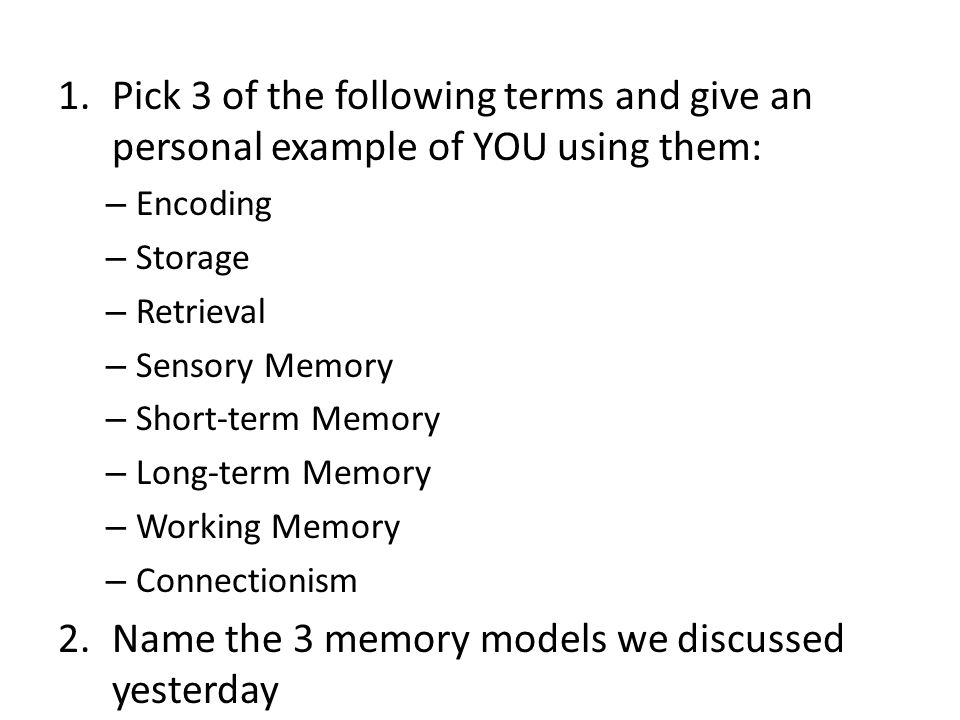 working memory discuss