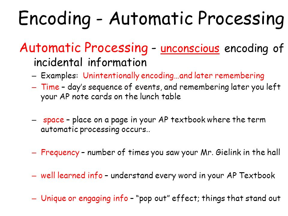 Encoding - Automatic Processing