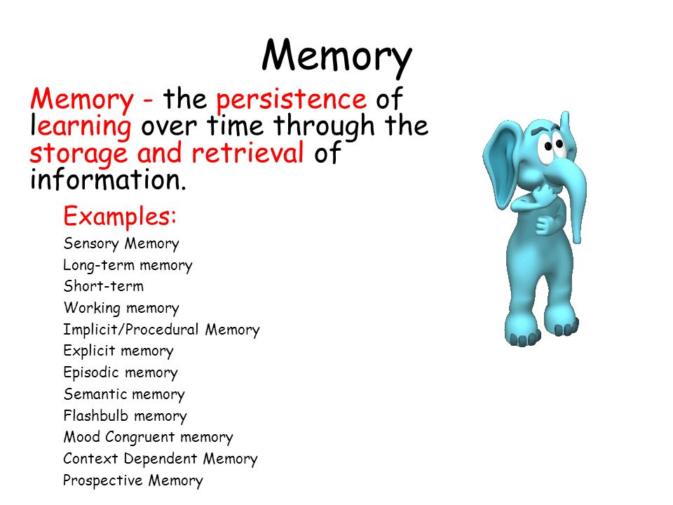 Memory Memory - the persistence of learning over time through the storage and retrieval of information.