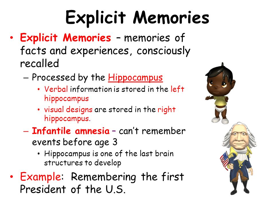 Explicit Memories Explicit Memories – memories of facts and experiences, consciously recalled. Processed by the Hippocampus.