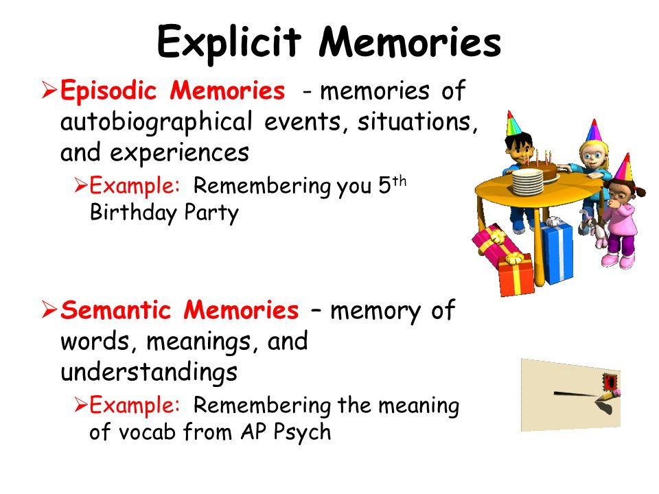 Explicit Memories Episodic Memories - memories of autobiographical events, situations, and experiences.