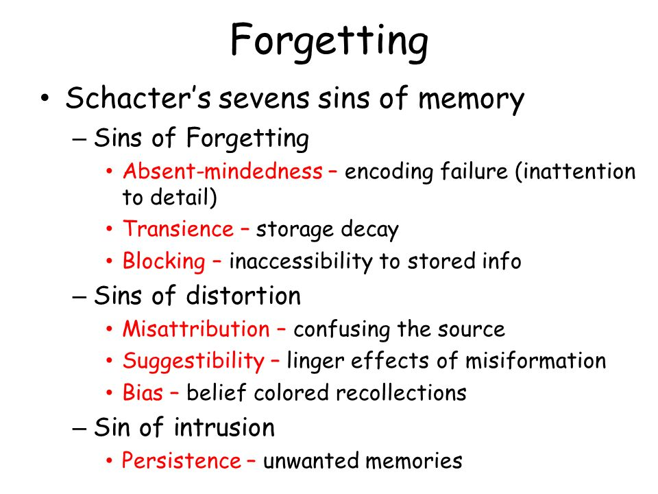 Forgetting Schacter's sevens sins of memory Sins of Forgetting