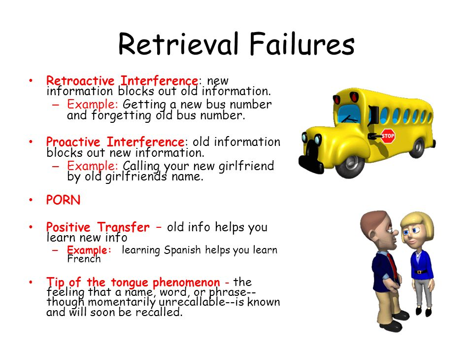 Retrieval Failures Retroactive Interference: new information blocks out old information.