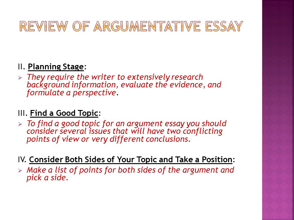 good argument for an essay A good introduction in an argumentative essay acts like a good opening statement in a trial just like a lawyer, a writer must present the issue at hand, give background, and put forth the main argument -- all in a logical, intellectual and persuasive way.