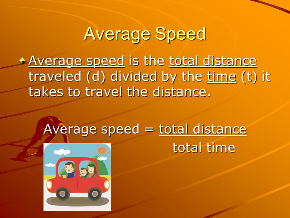 Average speed = total distance