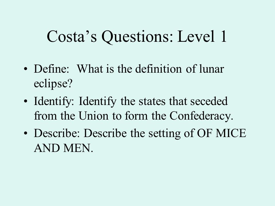 Costa's Questions: Level 1