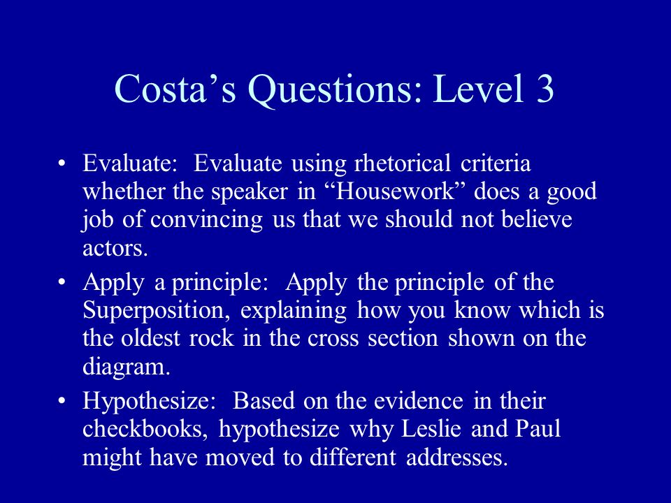 Costa's Questions: Level 3