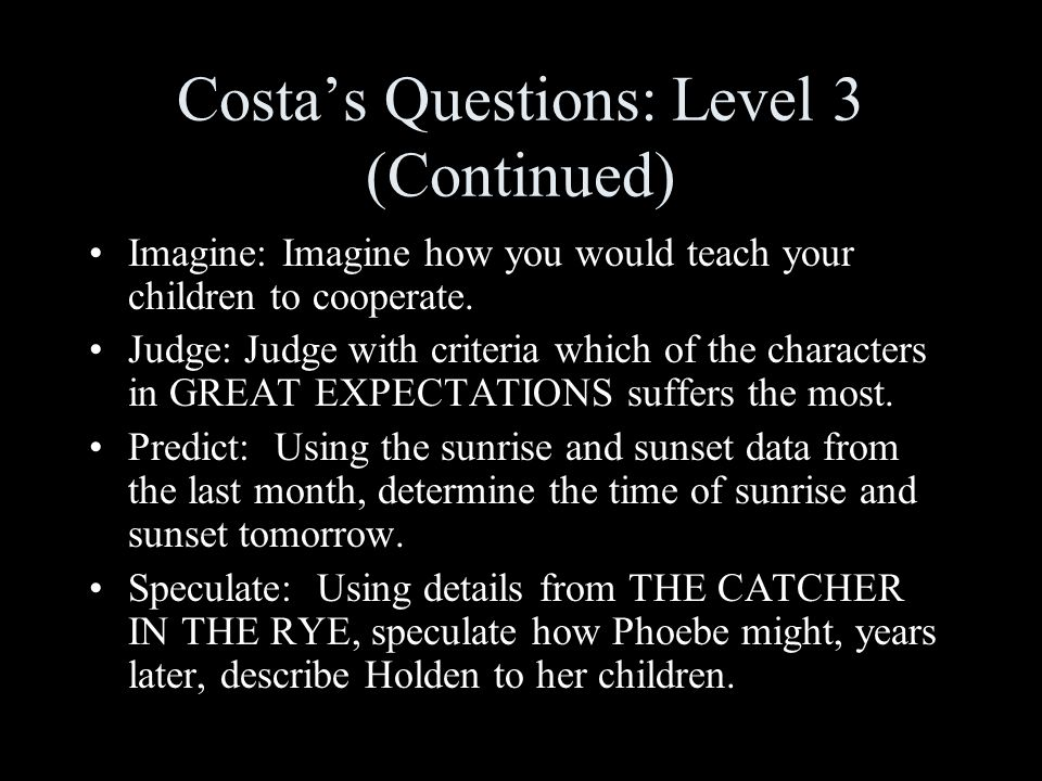 Costa's Questions: Level 3 (Continued)