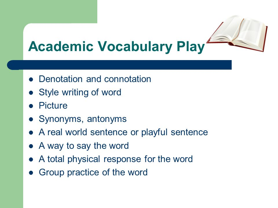 Academic Vocabulary Play