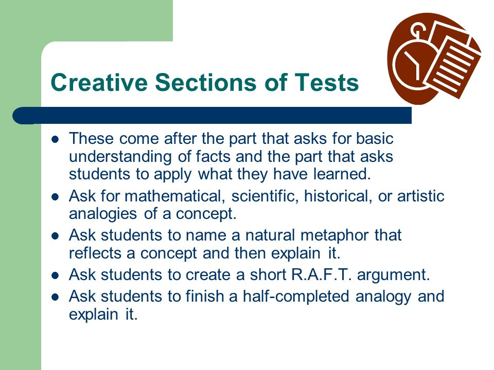 Creative Sections of Tests