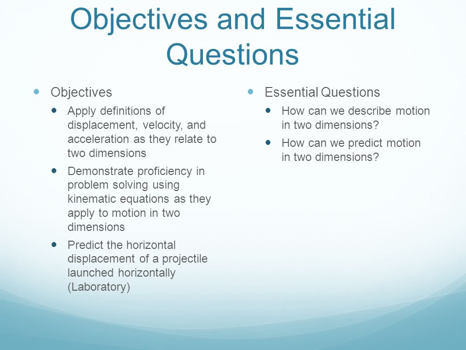Objectives and Essential Questions