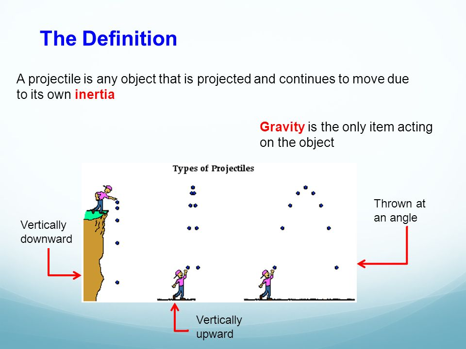 The Definition A projectile is any object that is projected and continues to move due. to its own inertia.