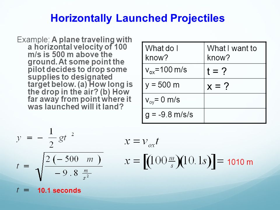 Horizontally Launched Projectiles