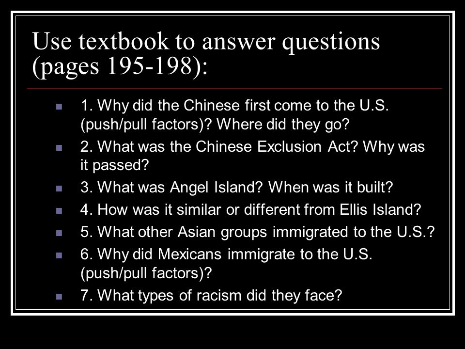 Use textbook to answer questions (pages 195-198):