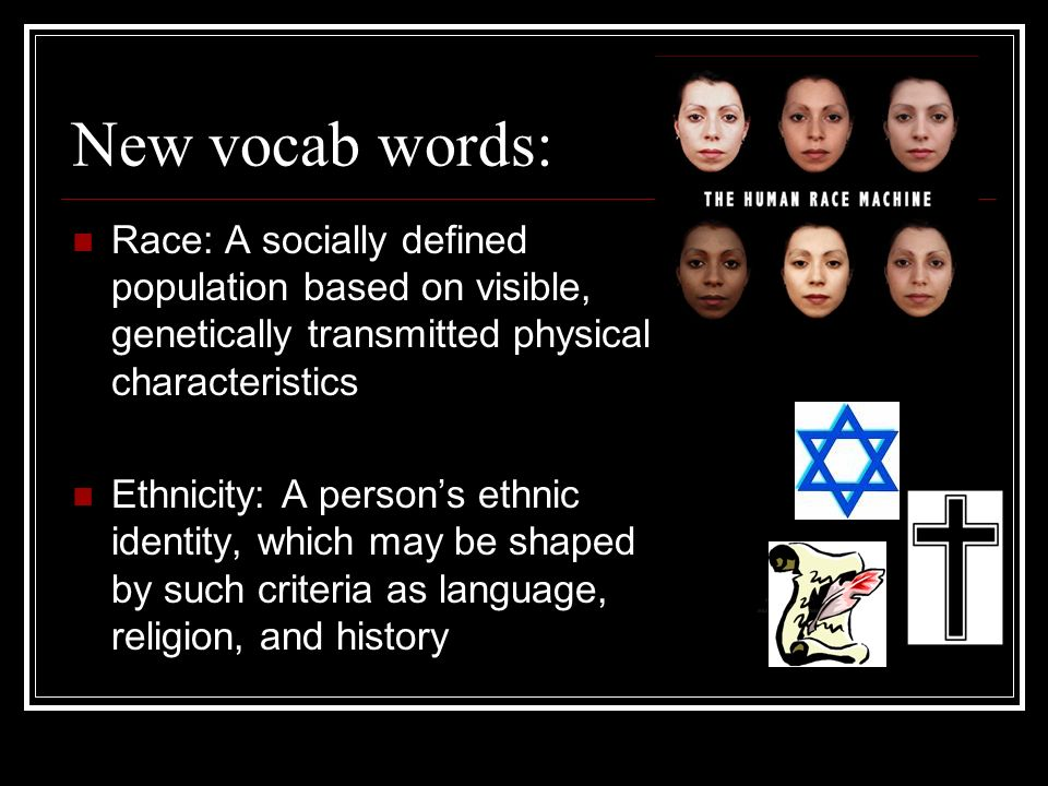 New vocab words: Race: A socially defined population based on visible, genetically transmitted physical characteristics.