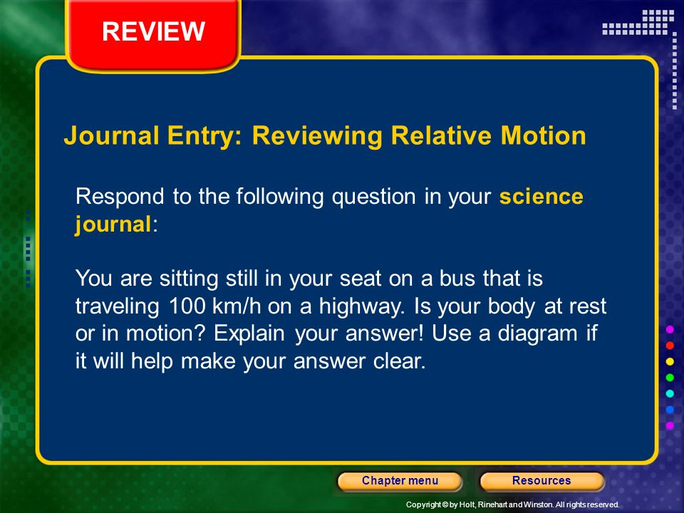 Journal entry all motion is relative ppt download 10 journal entry reviewing relative motion ccuart Image collections