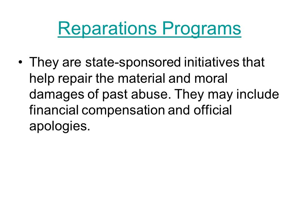 Reparations Programs
