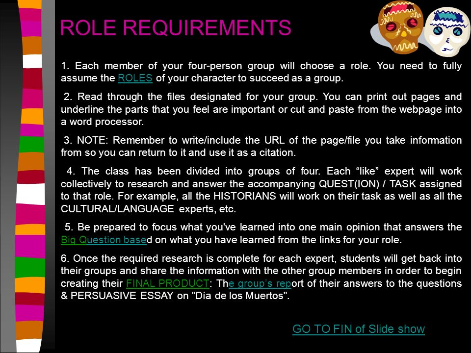 role requirements go to fin of slide show ppt video online  role requirements go to fin of slide show