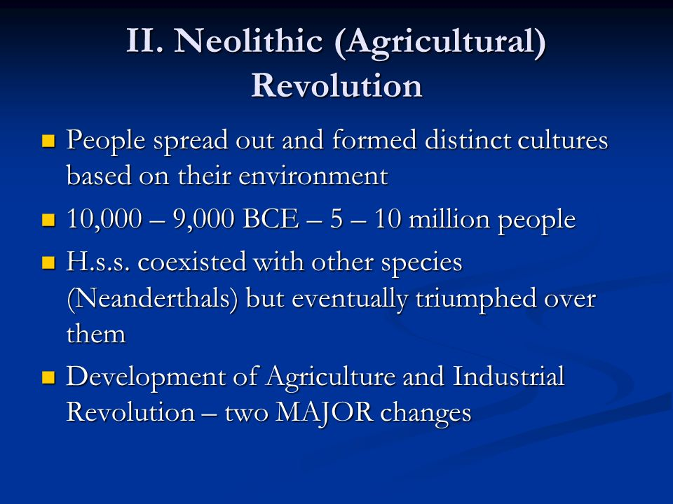 II. Neolithic (Agricultural) Revolution