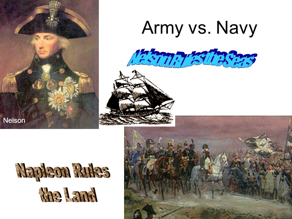 Army vs. Navy Nelson Rules the Seas Nelson Napleon Rules the Land