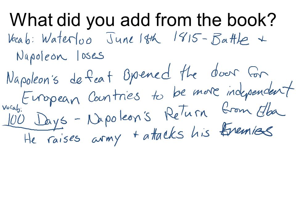 What did you add from the book