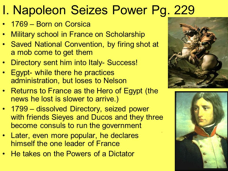 I. Napoleon Seizes Power Pg. 229