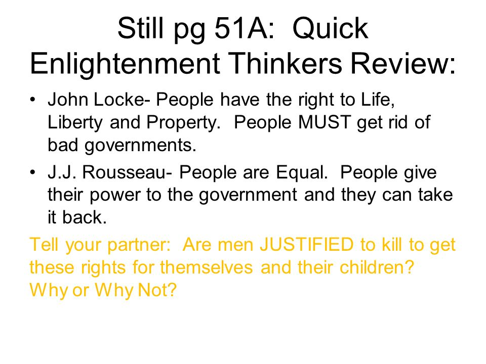 Still pg 51A: Quick Enlightenment Thinkers Review: