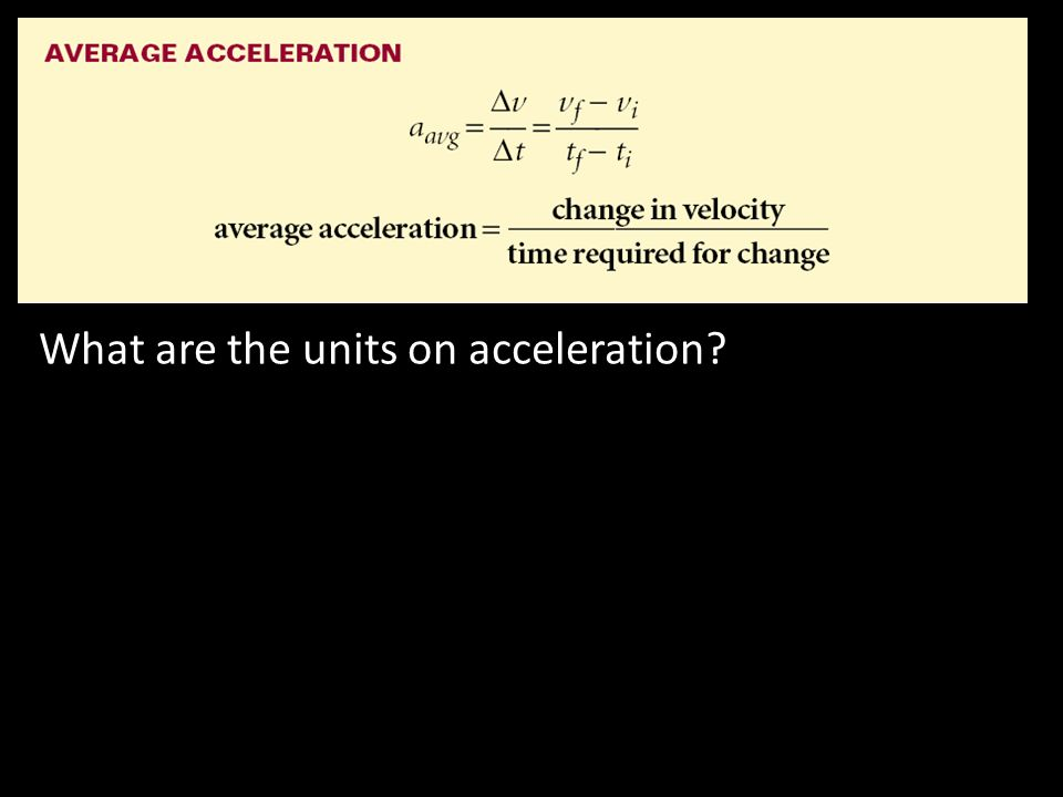 What are the units on acceleration