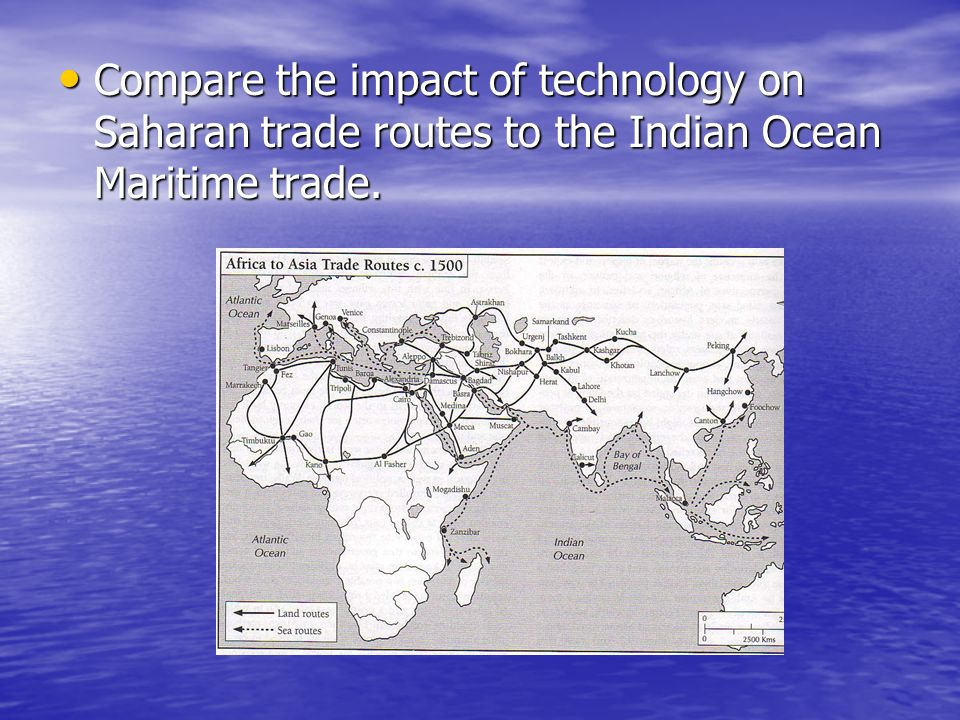 Compare the impact of technology on Saharan trade routes to the Indian Ocean Maritime trade.