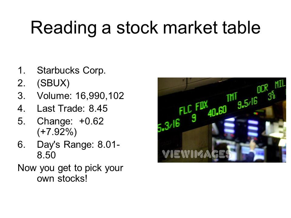 Reading a stock market table