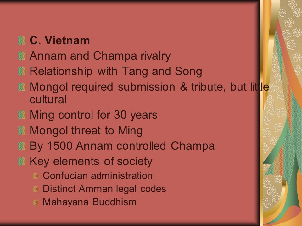 Annam and Champa rivalry Relationship with Tang and Song