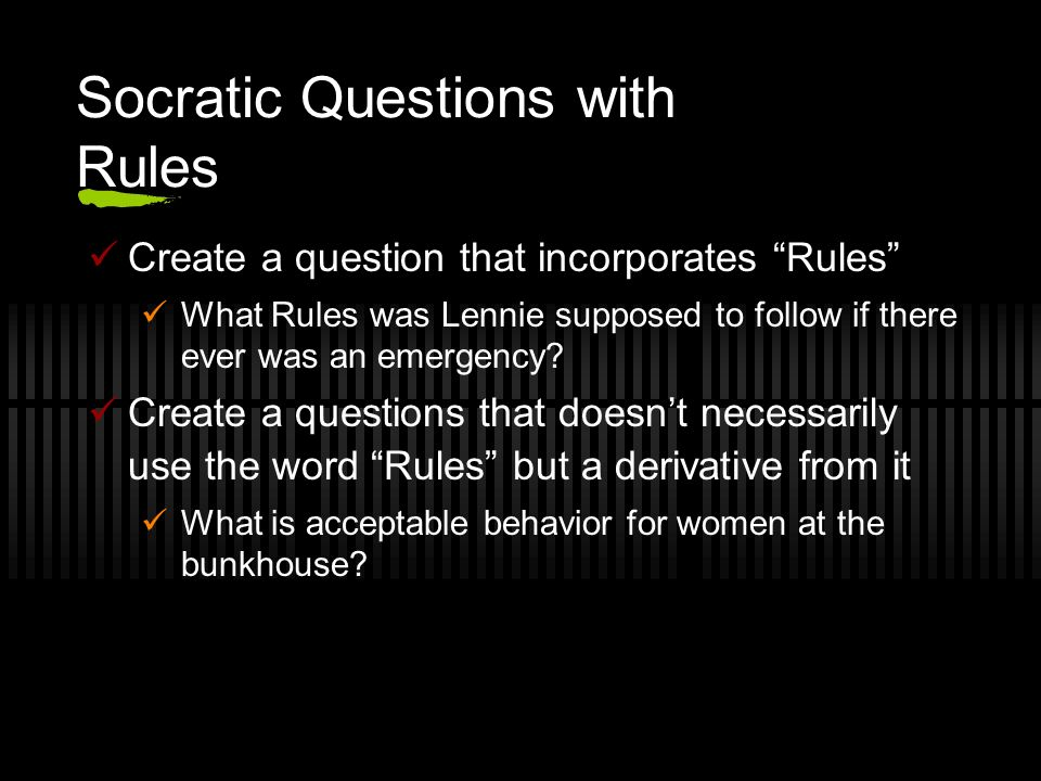 Socratic Questions with Rules