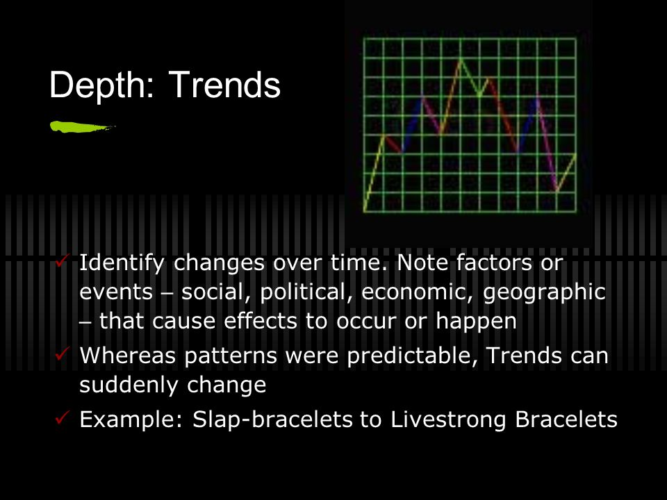 Depth: Trends Identify changes over time. Note factors or events – social, political, economic, geographic – that cause effects to occur or happen.