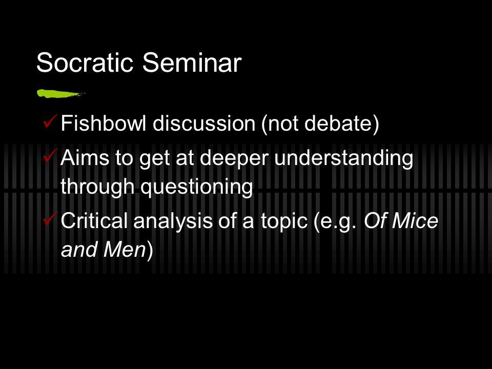 Socratic Seminar Fishbowl discussion (not debate)