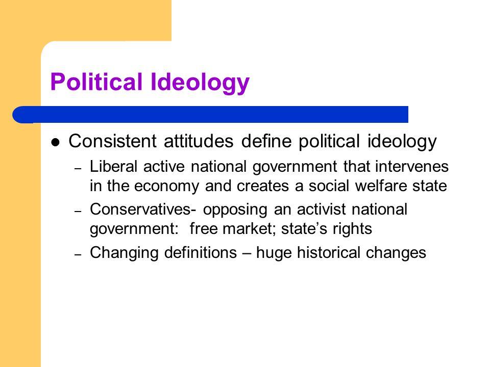 Political Ideology Consistent attitudes define political ideology