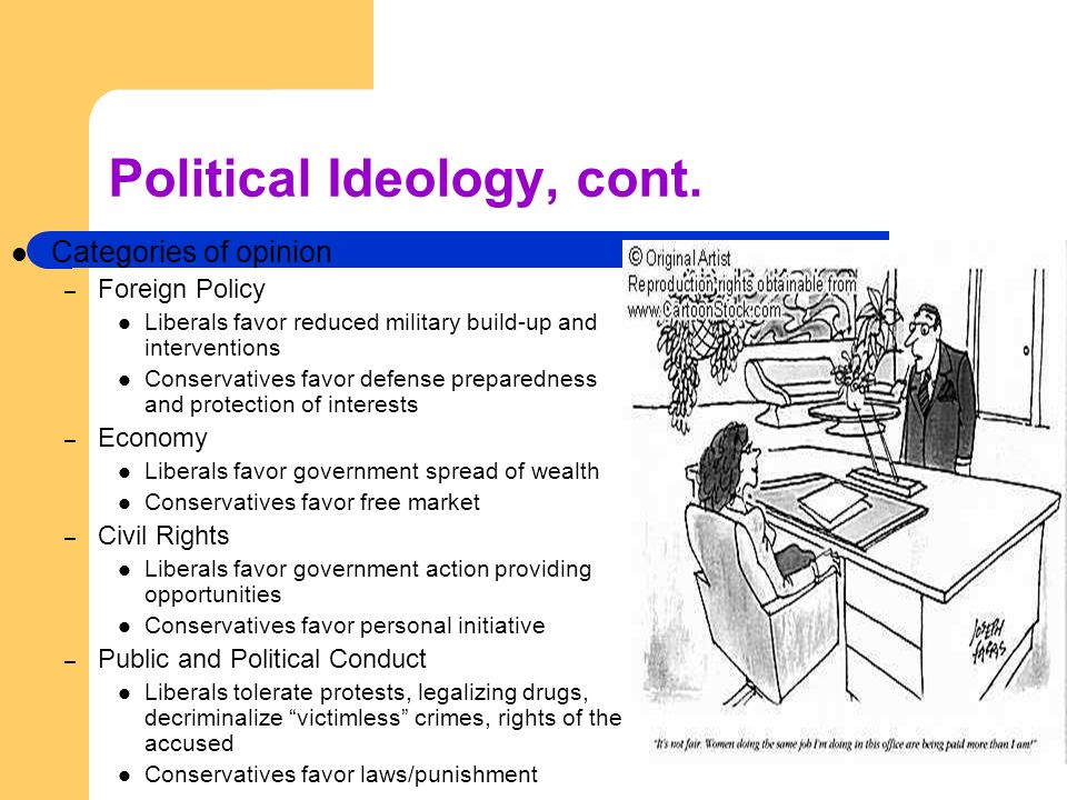 Political Ideology, cont.