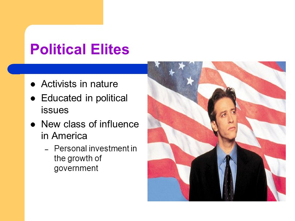Political Elites Activists in nature Educated in political issues