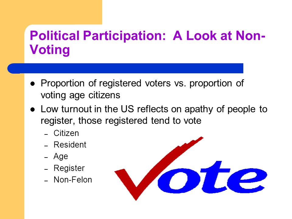Political Participation: A Look at Non-Voting