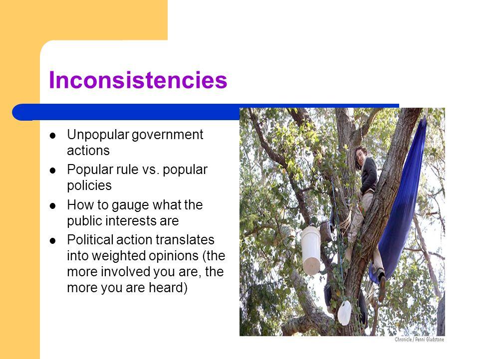 Inconsistencies Unpopular government actions