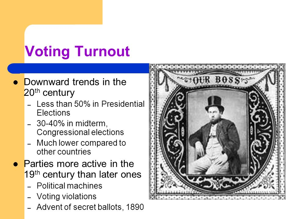 Voting Turnout Downward trends in the 20th century