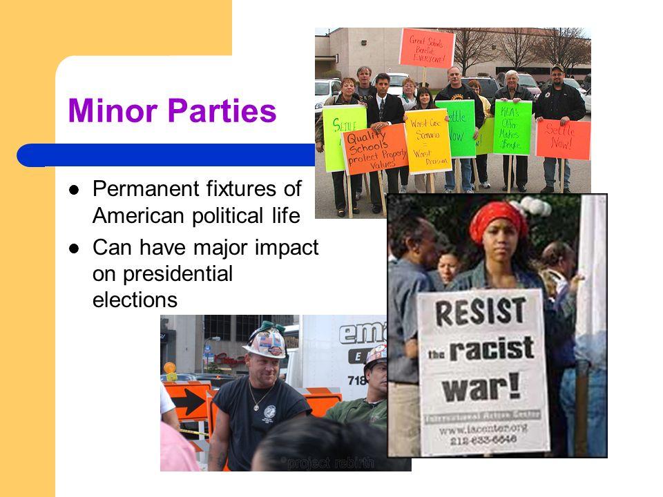 Minor Parties Permanent fixtures of American political life