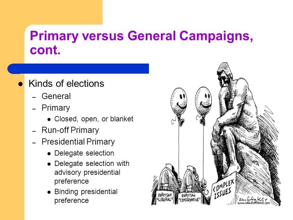 Primary versus General Campaigns, cont.