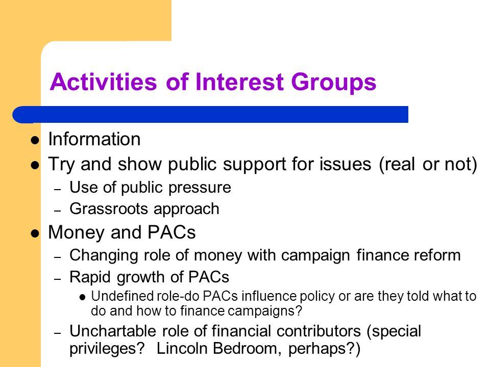 Activities of Interest Groups