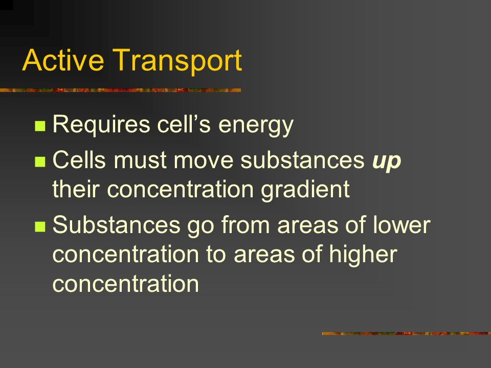 Active Transport Requires cell's energy